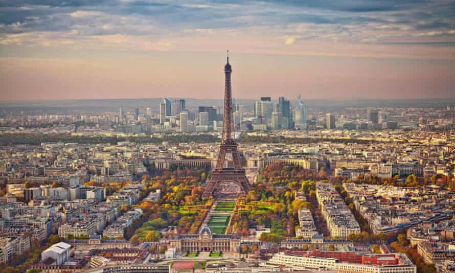 Aerial view of Paris at sunset. View from Montparnasse Tower.