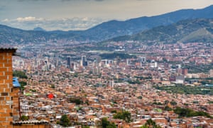 View over Medellin, set within the folds of Andean mountains.