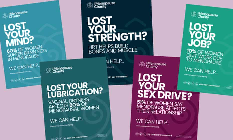 Posters in The Menopause Charity campaign.