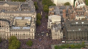 A still grabbed from footage broadcast by the UK broadcast pool shows thousands of people taking part the 'people's vote' march