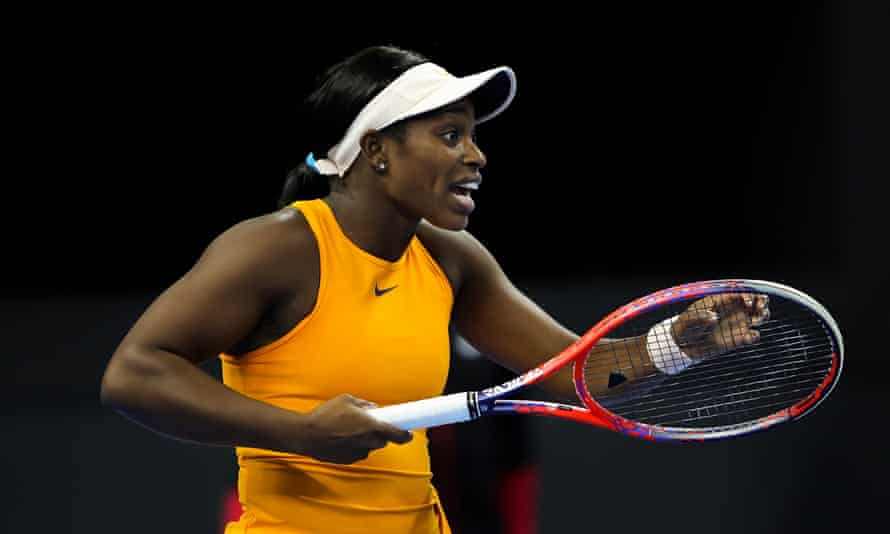Sloane Stephens reacts after a run-in with Anastasia Pavlyuchenkova during the players' first-round match