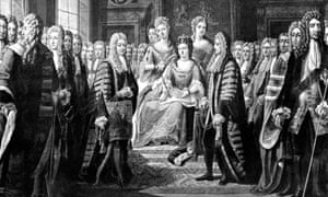 The articles of union, creating the kingdom of Great Britain, are presented to Queen Anne in 1706.