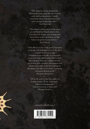 The back of the cover for Alan Moore's Jerusalem, with Joshua's quote at the end.