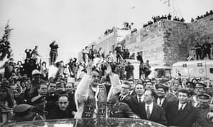 Pope Paul VI's pilgrimage to the Church of the Nativity in Bethlehem during his tour of the Holy Land in January 1964