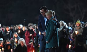 Daniel Andrews, the premier of Victoria, and his wife, Catherine, at the vigil in Melbourne.