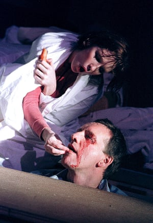 Kelly Reilly and Neil Dudgeon in Blasted at the Royal Court, London, in 2001