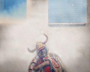 Category: Street. Title: Fiesta Mayor in Sitges 2018. A man dressed as a devil