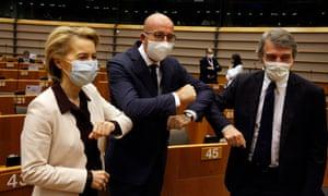 From left, European commission president Ursula Von Der Leyen, European council president Charles Michel and European parliament president David-Maria Sassoli at the European Parliament in Brussels, Belgium, 23 July 2020