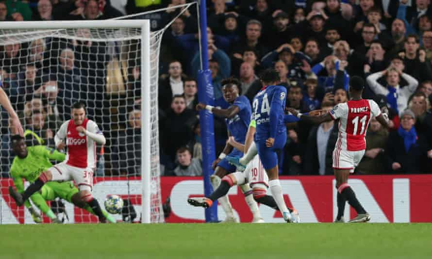 Chelsea's Reece James fires home his side's fourth goal against Ajax.