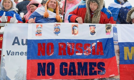 Russian fans demonstrate against the IOC ban from the Winter Olympics at the World Cup Biathlon in Hochfilzen, Austria