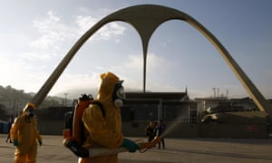 Local workers spray chemicals to kill mosquitoes that could be carrying the Zika virus at the famous Sambadrome in Rio de Janeiro, the carnival stadium where archery events will be held during the Olympics.