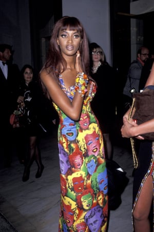Naomi Campbell wears a Warhol dress by Gianni Versace