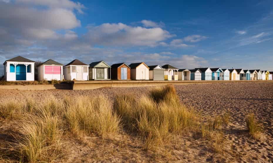 The beach and beach Huts at Chapel Point, Chapel St Leonards, Lincolnshire.
