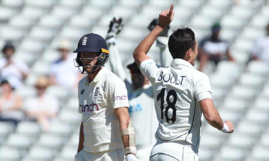 Trent Boult celebrates after taking the wicket of Olly Stone with the first ball of the day.