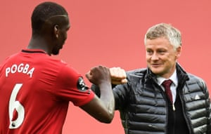 Manchester United's manager, Ole Gunnar Solskjær, congratulates Paul Pogba after a 5-2 win over Bournemouth this month.