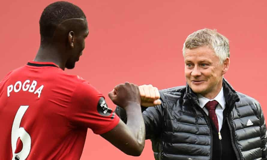 The Manchester United midfielder Paul Pogba (left) with manager Ole Gunnar Solskjær after their victory against Bournemouth last Saturday.