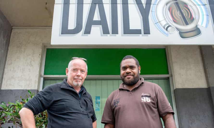Dan McGarry (left) outside the offices of Vanuatu's Daily Post in Port Vila.