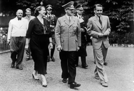 Winifred Wagner , daughter-in-law of Richard Wagner, with her son Wieland (right) and Adolf Hitler in the garden at Wahnfried, the Wagner home in Bayreuth, 26 July 1938