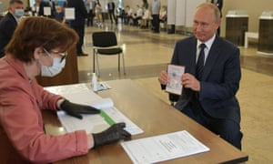 Vladimir Putin casts his vote in the referendum that could let him rule Russia until 2036.