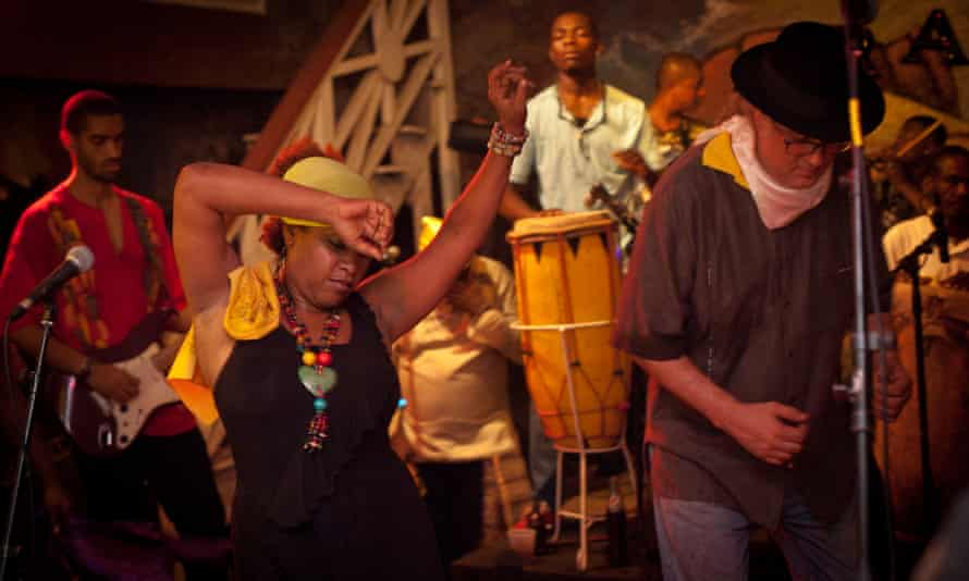 Voudou in Haiti Lunise Morse, lead female singer, and Richard Morse, founder, songwriter and lead male singer of the mizik-rasin (roots band) RAM.