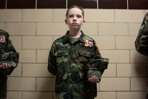 Young Marines in Hanover, Pennsylvania11-year-old Bailey Vanderpool attends a meeting focusing on drug awareness. Like all Young Marines, she is required to memorise the Young Marine Obligation: 'From this day forward, I sincerely promise, I will set an example for all other youth to follow, and I shall never do anything that would bring disgrace or dishonor upon my God, my country and its flag, my parents, myself, or the Young Marines'