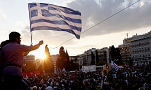 Protesters Greek flags Athens.
