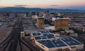Solar panels being installed on the Mandalay Bay convention center.