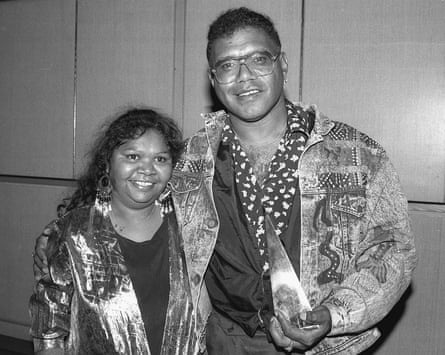 Ruby and Archie Roach with Archie's first Aria award in 1991.
