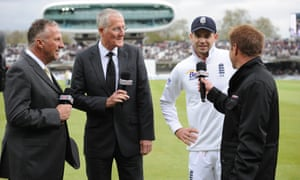 Bob Willis, second left, here with Ian Botham and Jimmy Anderson (second right). Willis moved into broadcasting after retiring as a player and coach.