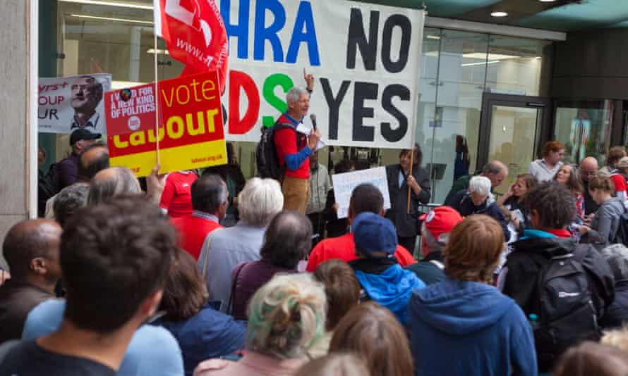 Protesters against adopting the IHRA definition, outside Labour headquarters in London.
