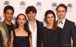 (From left) Marcelino Sambé, Francesca Hayward, Cesar Corrales, Mayara Magri and Matthew Ball at the Royal Opera House in January.