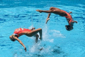 Japan's performance during the free routine final of the Fina synchronised swimming Olympic Games qualification tournament