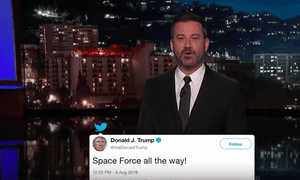 Jimmy Kimmel: 'The logo for the Space Force should just be a picture of money being shredded and thrown at the moon.'