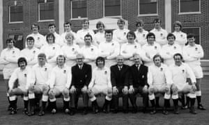 Inspirational captain John Pullin (centre front) and the England squad pose for photos before the remarkable 1972 tour.