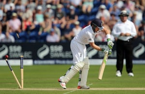 Bails fly as Ian Bell is bowled by Mitchell Johnson for 60
