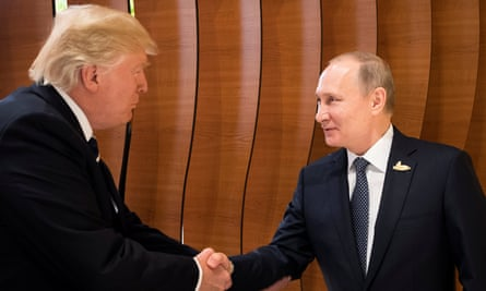 Donald Trump and Vladimir Putin in 2017. The film explores a common purpose by Russia and pro-Trump players, sometimes in tandem and sometimes covertly.