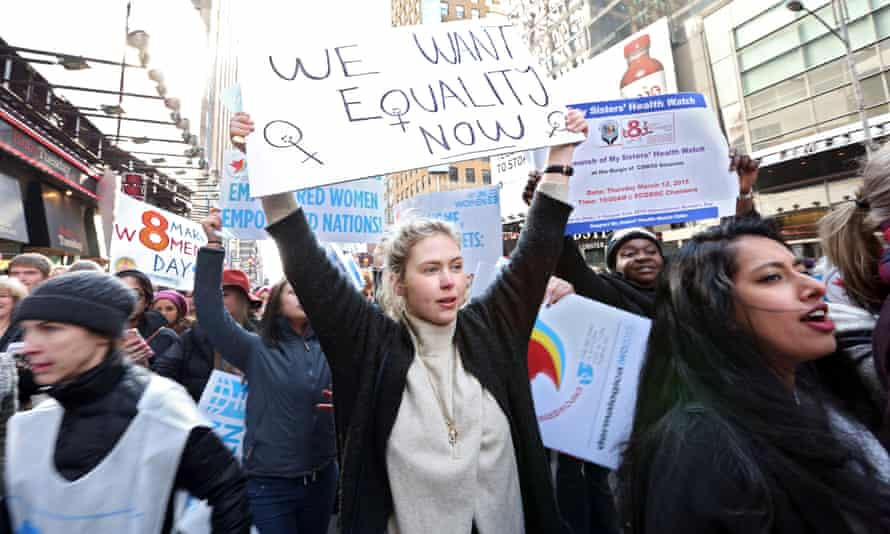 Activists take the case for gender equality to the streets of New York on International Women's Day.