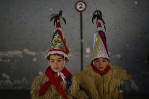 Two young Joaldunaks called Zanpantzar, take part in the Carnival between the Pyrenees villages of Ituren and Zubieta