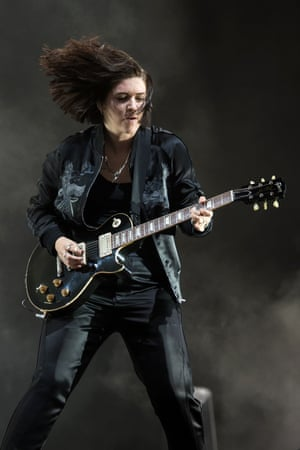 Romy Madley Croft of The xx performs on the Pyramid stage