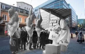 Turkeys are auctioned in Smithfield market on 21 December 1968. Shoppers walk past on 23 November 2017