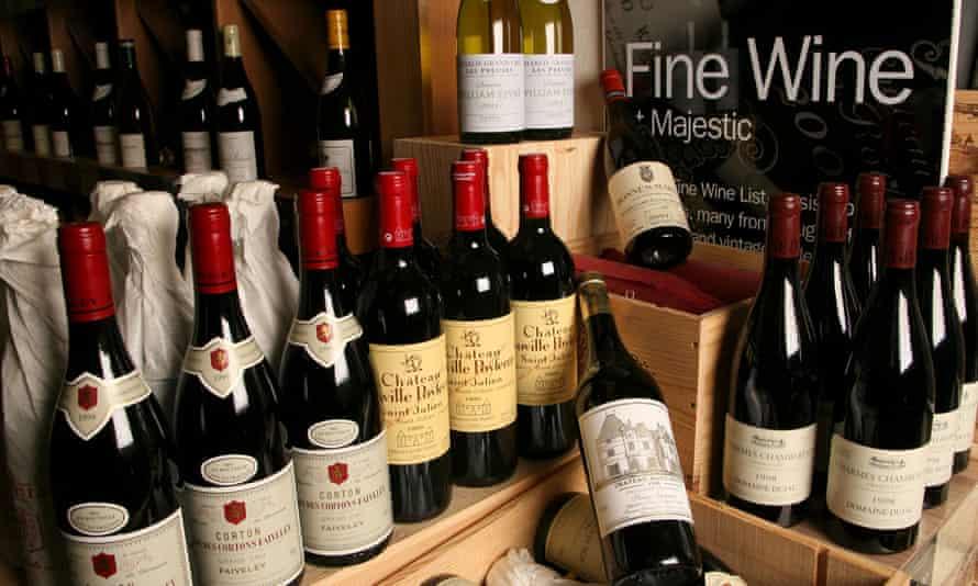 Range of wines at majestic Wine