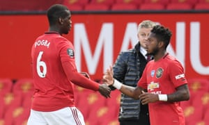 Paul Pogba is replaced by Fred during Manchester United's Premier League game at home to Southampton this month.