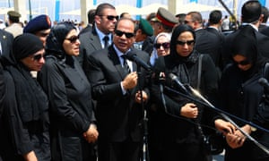 President Abdel Fattah al-Sisi (centre) speaking to the public with family members of Egypt's Prosecutor General Hisham Barakat who was killed in a bomb attack on June 30.