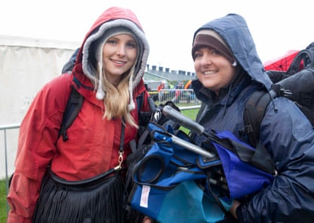 Sarah Blacklock from Hertfordshire, left, with Kate Inch from Brighton at the Glastonbury gates on Wednesday.