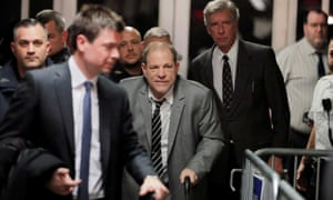 Harvey Weinstein departs New York Criminal Court after his sexual assault trial in Manhattan on 31 January.