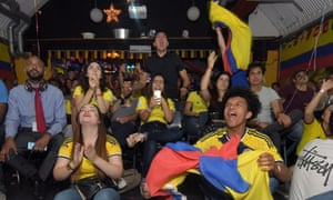 Colombia supporters at the Colombia bar in Elephant and Castle