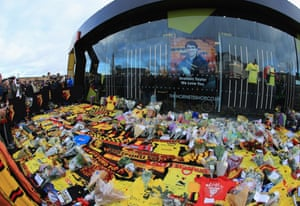 Some of the tributes to Graham Taylor outside Vicarage Road.