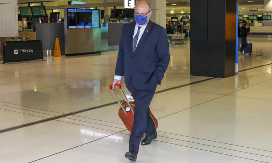 France's ambassador to Australia Jean-Pierre Thebault at Sydney airport last week. He said his country had been the last to know that the Morrison government was tearing up its submarine contract.