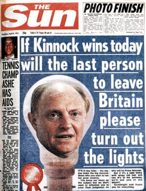 The famous 1992 front page of Neil Kinnock's head inside a bulb.