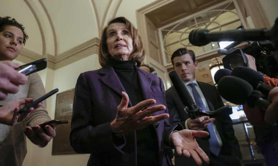 Nancy Pelosi takes questions from reporters on Friday.